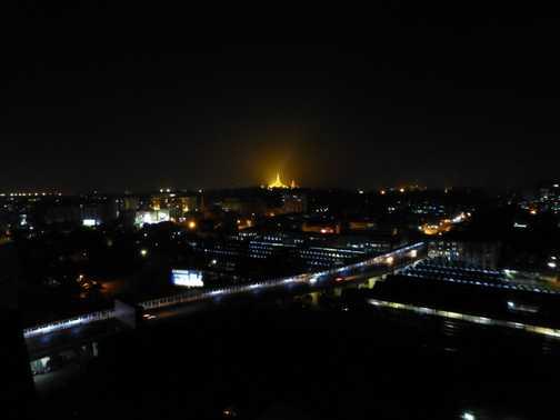 Schwedagon Pagoda from the top of the Asia Plaza Hotel, Yangon