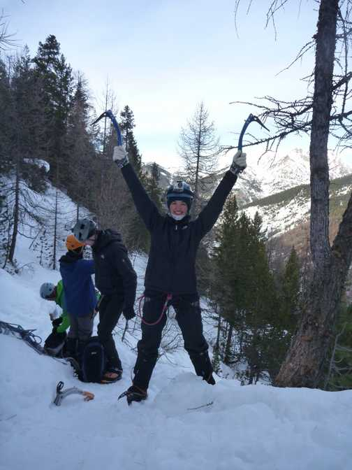 2nd day, on top of the world - after 4 hours of climbing up a series of 20m pitches (long big waterf