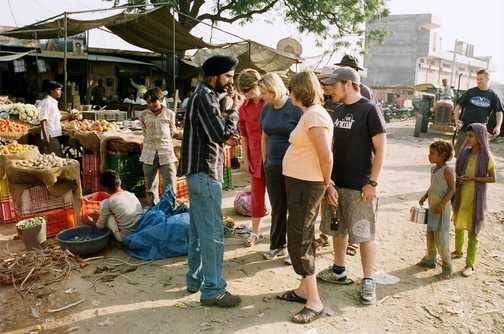 Avtar showing us around a local market