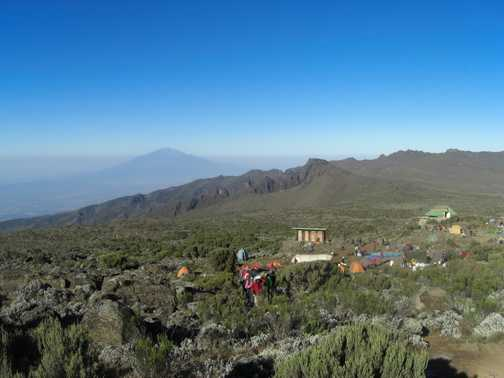 Morning view over Mt Meru from Shira 2 camp