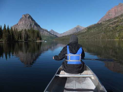 Optional canoeing on Two Medicine Lake, Glacier National Park.