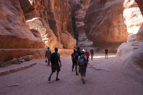 Along the siq to the Treasury at Petra