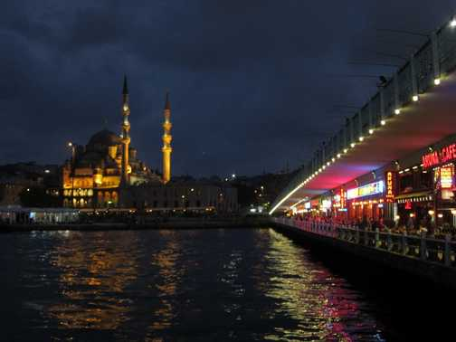 Nighttime view of the New Mosque and Galata Bridge - Istanbul, Turkey