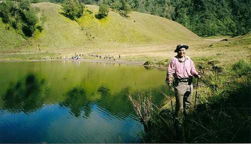 Ralph Rustam at Ranu Kumbolo, a mid base camp to climb Mt. Semeru