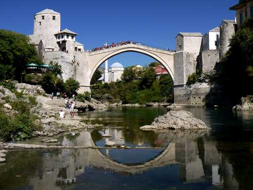 The Old Bridge in Mostar by sunny sunny day.