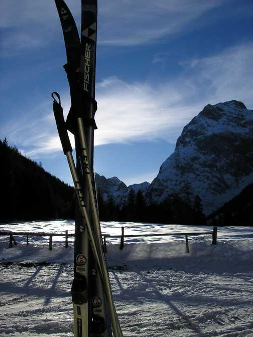 Skis at sunset
