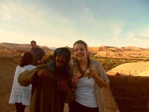 top of Ait Benhaddou lovely view of snow topped Atlas mountains
