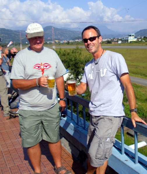 Pre flight drink before 'death plane' to Pokhara