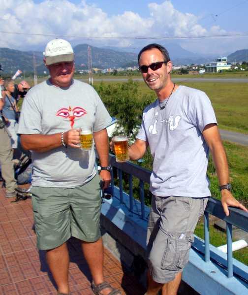 Pre flight drink before 'death plane' to Pokhara