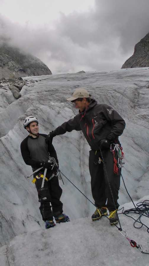 Abseiling with crampons