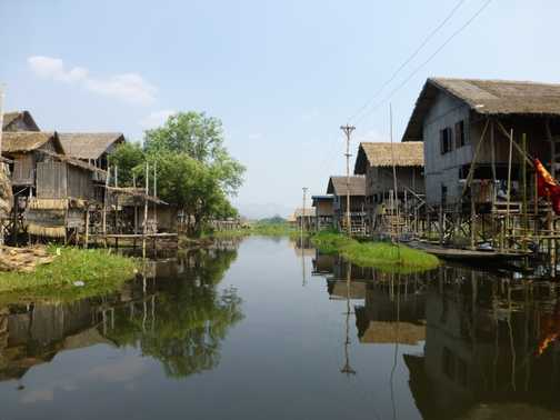 Side street - floating island, Inle lake