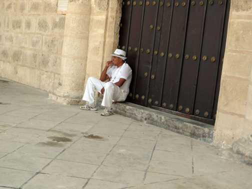 Man in Havana doorway