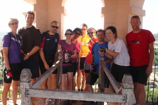 Ten eighteenths of our group at the top of the Runaway Slaves' Tower.