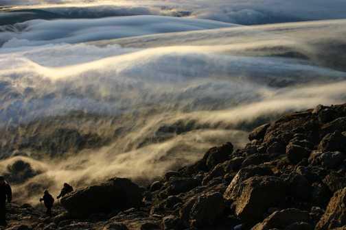 climbing kili at dawn