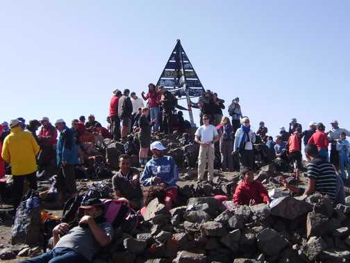 The summit gets a bit crowded....
