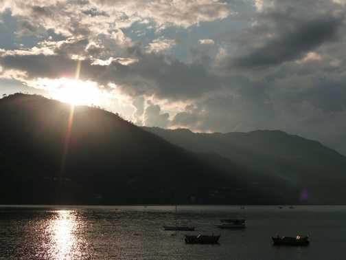 Sunset at lake, Pokhara