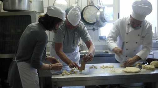 Helping chef Giovanni making pasta