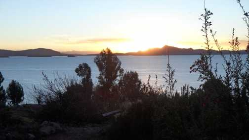 sunset over lake titicaca
