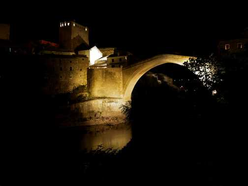 The Old Bridge in Mostar by starry starry night.