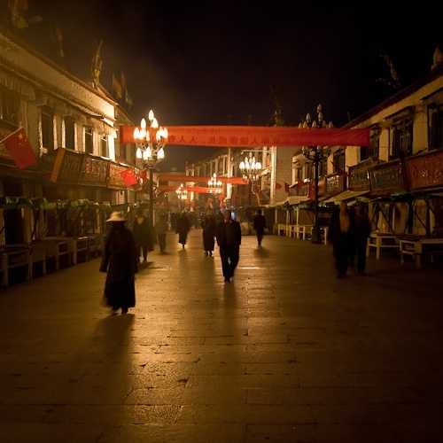 Downtown Lhasa in the evening