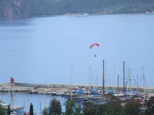 Paragliding is big in Kas, Turkey