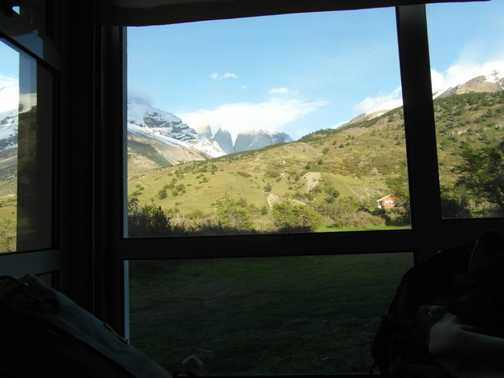 Torres del Paine from refuge bedroom