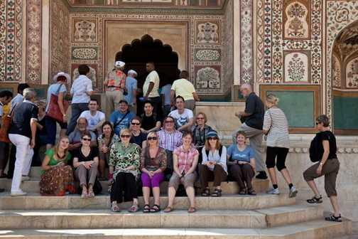 The group on the stairs outside Ganesh Pol, Amber Palace, Jaipur.