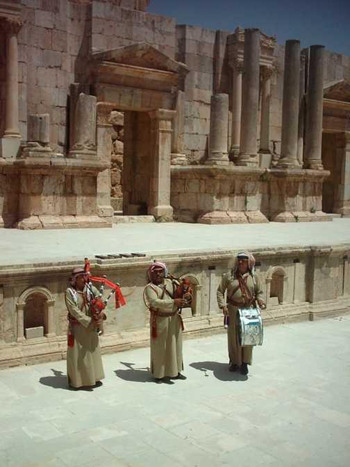 Jordanian bagpipers at Ancient Jerash