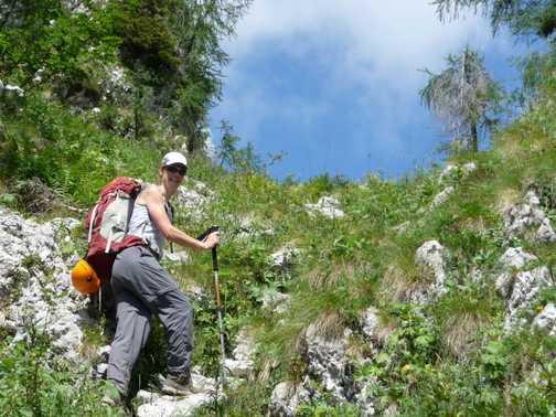 Hiking up steep trail