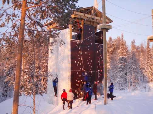 Ice/rock climbing at Basecamp Oulanka