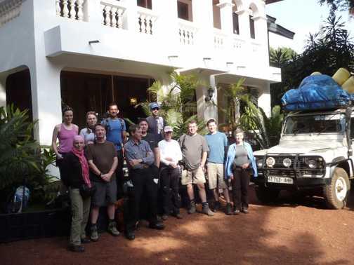 Pre-trek group photo at Kilimanjaro Mountain Lodge