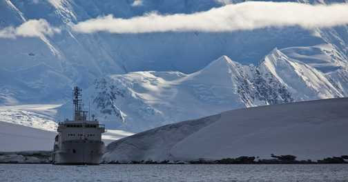 The Ioffe at anchor - Port Lockroy