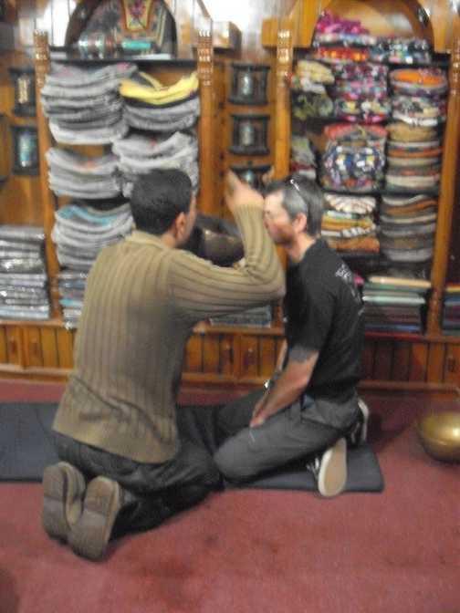Prayer bowl massage at the monkey temple