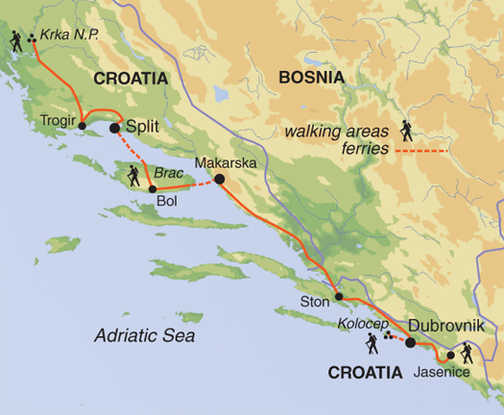 Delights of the Dalmatian Coast Walk - map