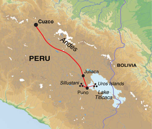 Titicaca Extension trip map