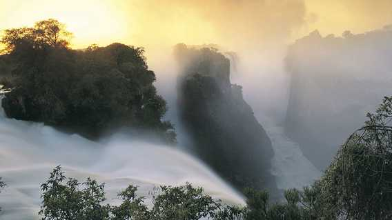 Sunset over Victoria Falls