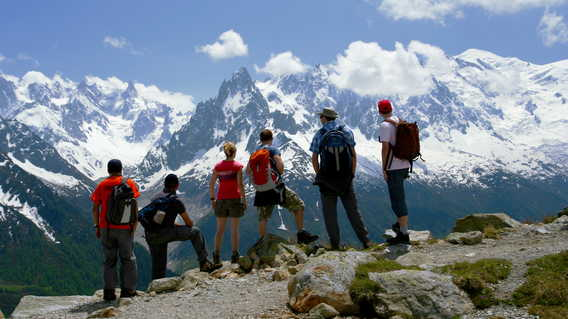Group admiring views of Mont Blanc, France
