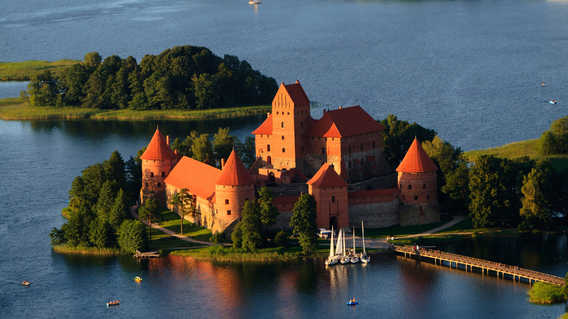 Trakai Castle aerial view, Lithuania