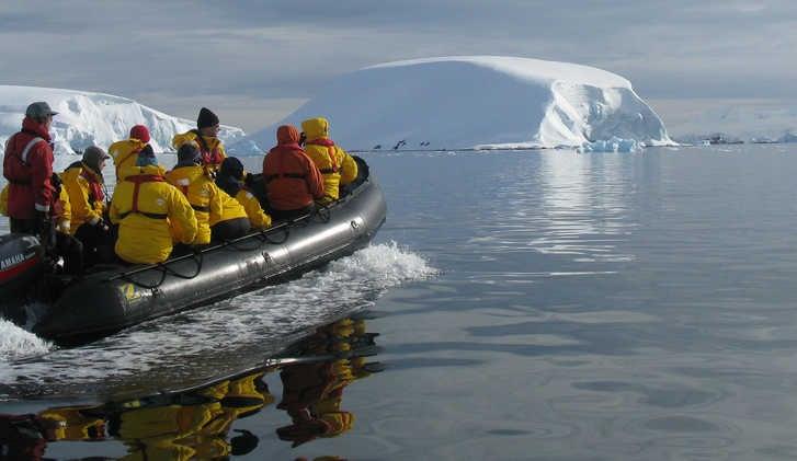 Zodiac approaching Melchior Islands, Antarctic Peninsula