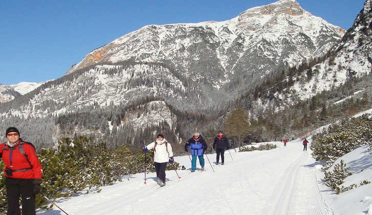 Cross-country skiing in the Dolomites