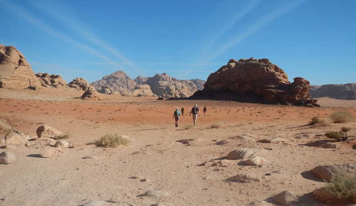 Trekking through the Wadi Rum