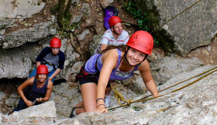 Exodus family group climbing in the Ardeche