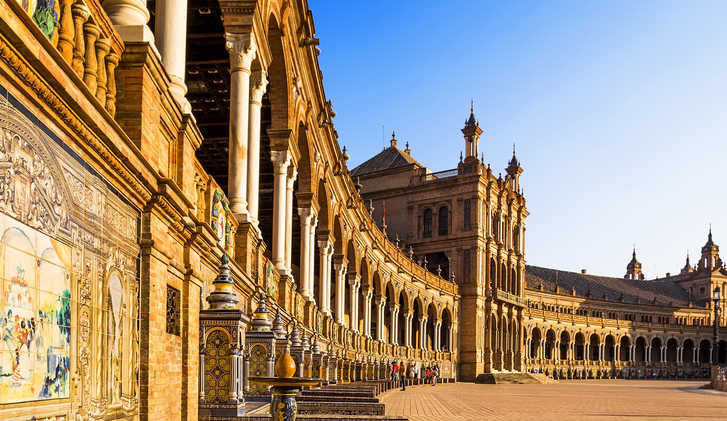 Spanish Square (Plaza de Espana) in Sevilla at sunset, Andalusia, Spain