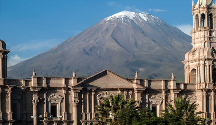 El Mist Volcano and Arequipa Cathedral - Arequipa, South America
