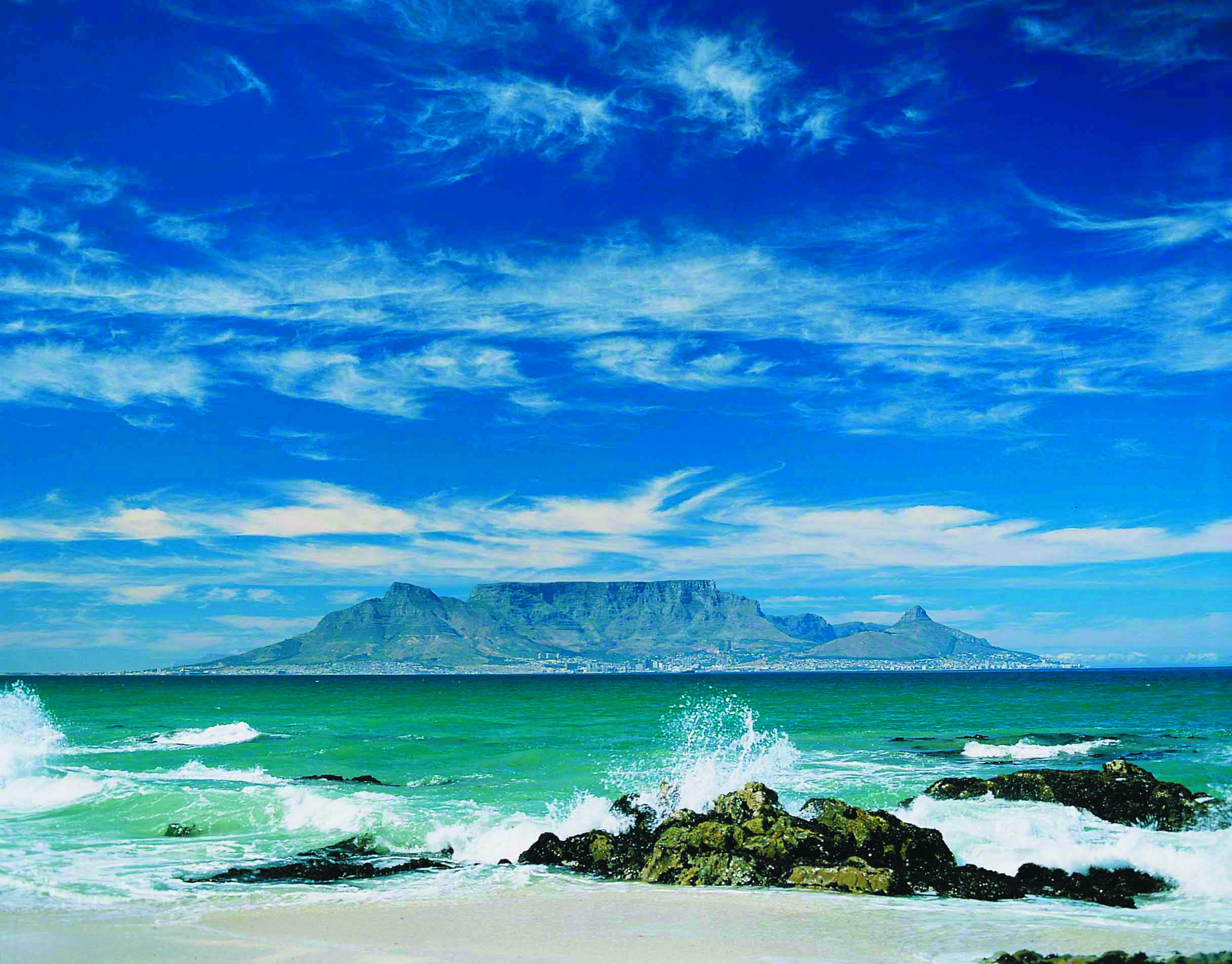The view of Cape Town from Robben Island