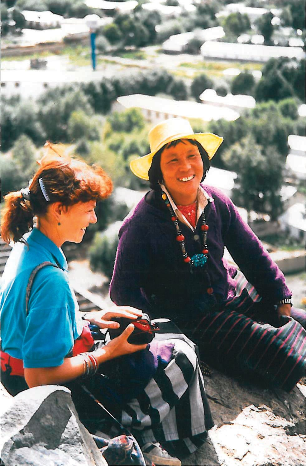 Valerie Parkinson in Tibet, 1989