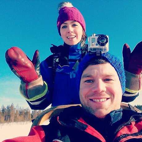 Olivia and her partner in Finland