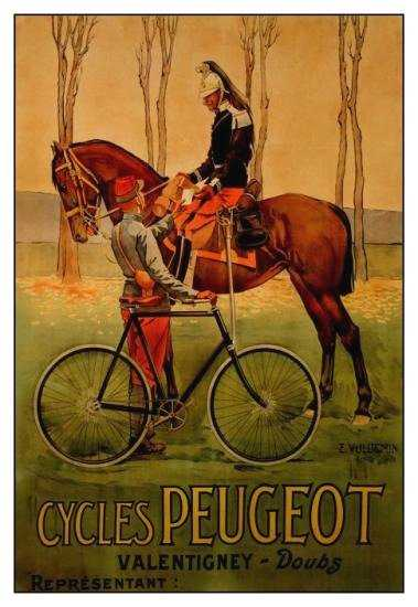 Advert for Peugot cycles, showing the bicycle in comparison to horse. Source: Wikimedia Commons.