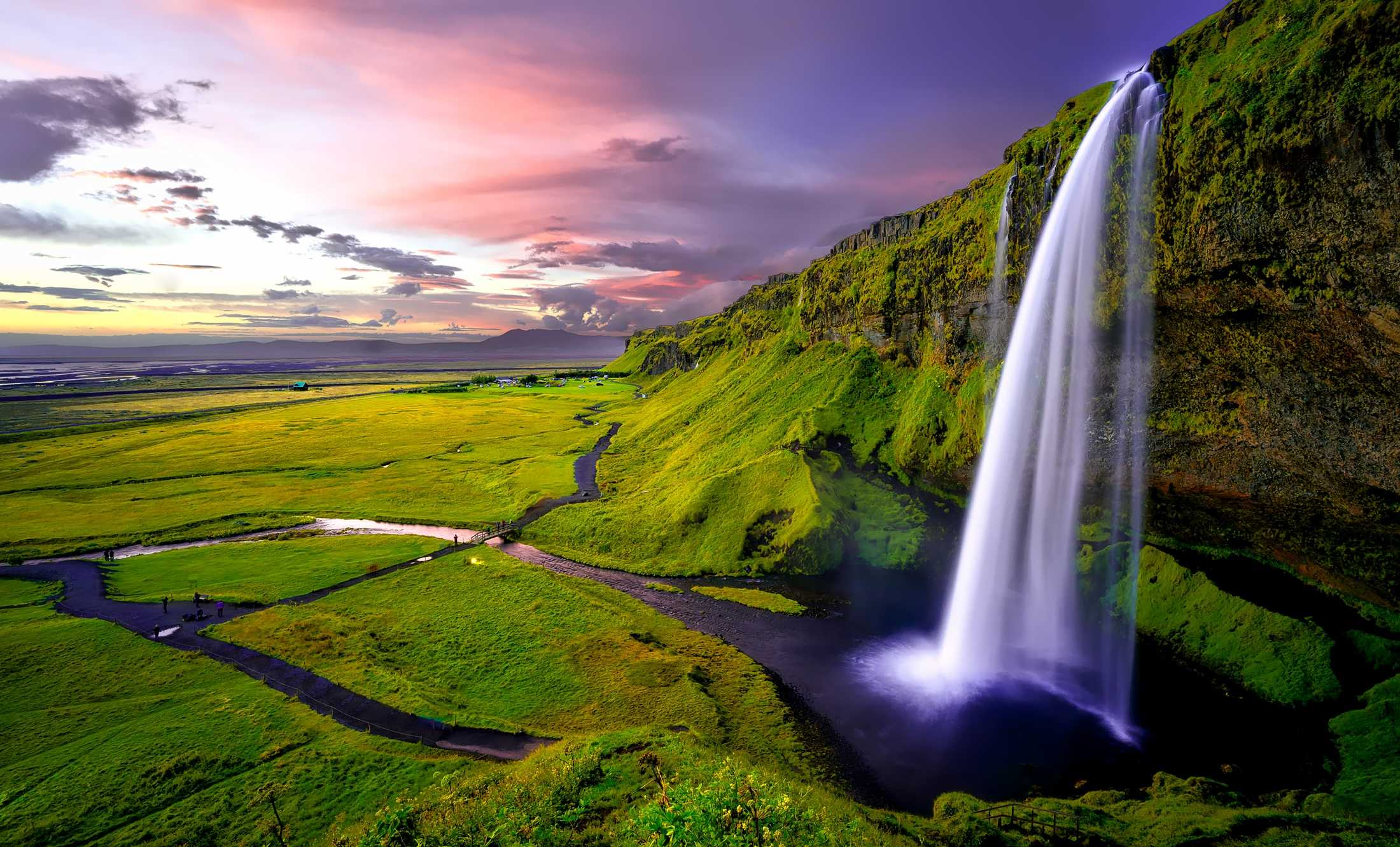 Iceland Midnight Sun Waterfall